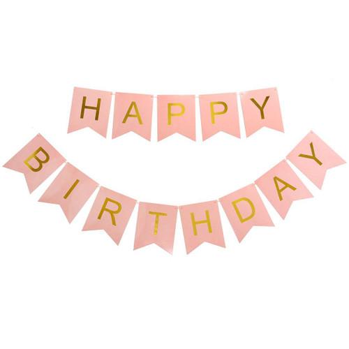 Classic Happy Birthday Bunting (2.5meter) - Pastel Pink