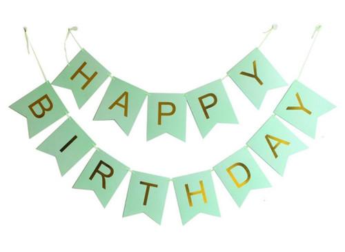 Classic Happy Birthday Bunting (2.5meter) - Mint Green