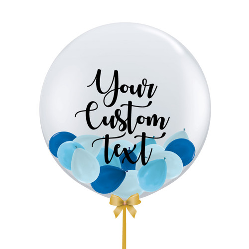 32'' Personalised Jumbo Perfectly Round Gumball Aqua Balloon - Mini Metallic Balloons Stuffed (22 Colors)