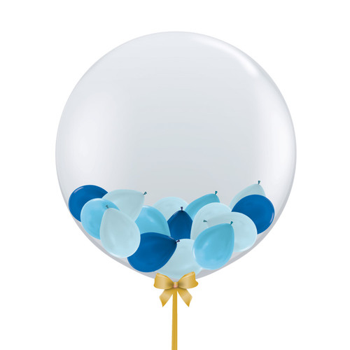 32'' Jumbo Perfectly Round Gumball Aqua Balloon - Mini Metallic Balloons Stuffed (22 Colors)