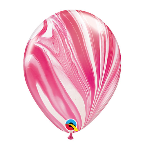 "11"" Marble Pattern Latex Balloon - Strawberry Marble"