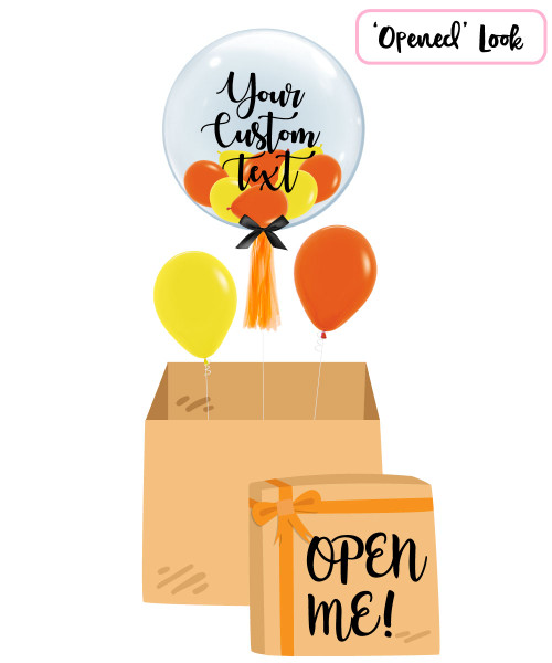 "[Personalised Balloon Surprise Box] 24"" Personalised Crystal Clear Transparent Balloon - Mini Fashion Balloons Filled"