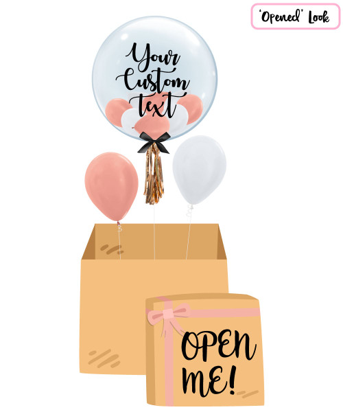 "[Personalised Balloon Surprise Box] 24"" Personalised Crystal Clear Transparent Balloon - Mini Metallic Balloons Filled"