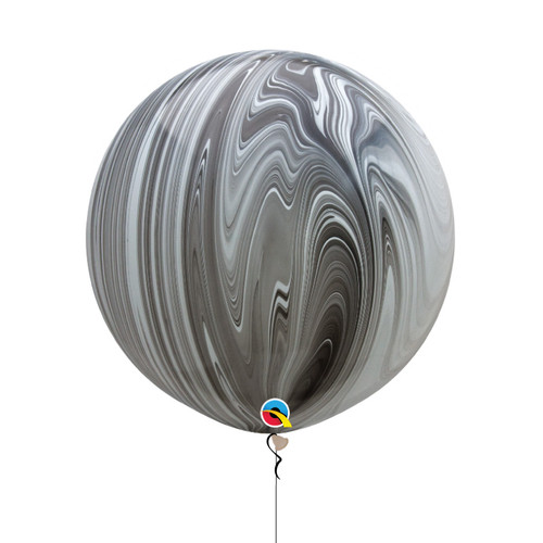 "30"" Jumbo Marble Pattern Latex Balloon - Black & White Marble"