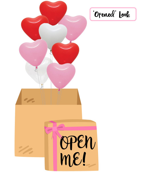 "[Balloon Surprise Box] 12"" Heart Latex Balloons"