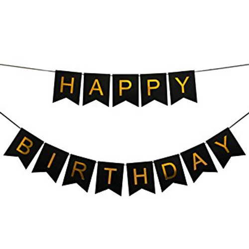 Classic Happy Birthday Bunting (2.5meter) - Black