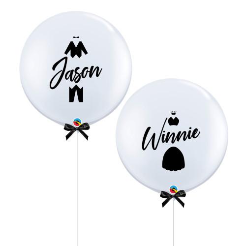 """36"""" Jumbo Personalised Bride (Gown) & Groom (Tuxedo) Name Balloon Set"""