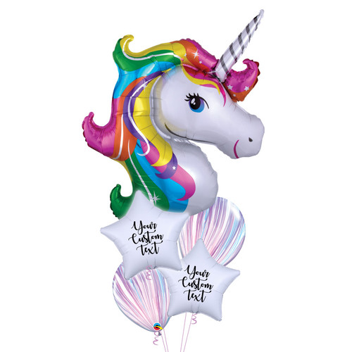 Personalised Rainbow Unicorn Dream Balloons Bouquet