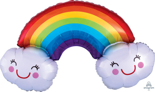 [Party] Rainbow with Smiley Clouds (37inch)