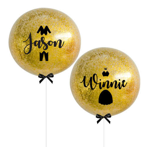 "36"" Jumbo Personalised Bride (Gown) & Groom (Tuxedo) Name Balloon Set - Metallic Confetti Filled"