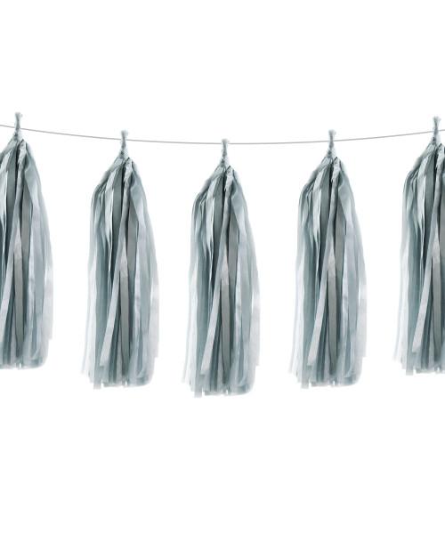 Tissue Paper Tassel Garlands DIY Kit (5 Tassels) - All Matt Silver