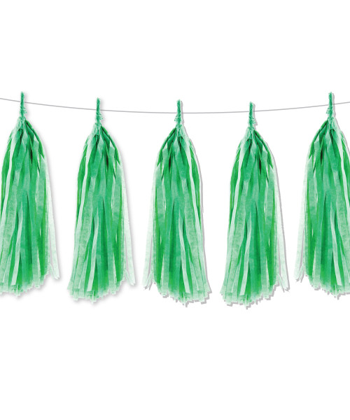 Tissue Paper Tassel Garlands DIY Kit (5 Tassels) - All Forest Green