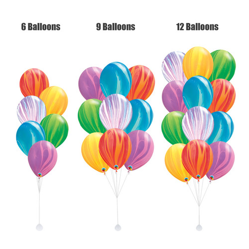 12inch Rainbow Marble Pattern Latex Balloons Cluster
