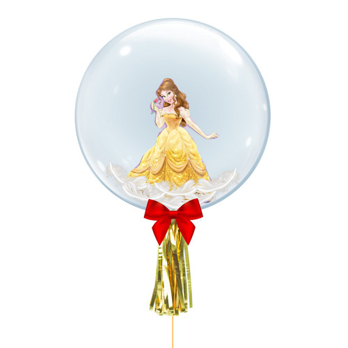 "24"" Crystal Ball Balloon - Feathers & Princess Belle Foil Balloon Stuffed"