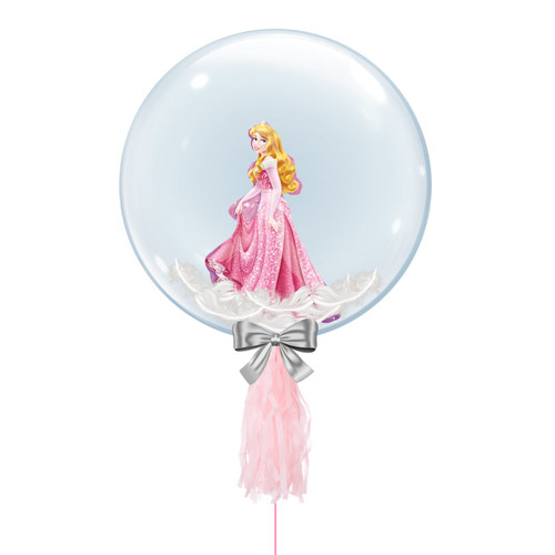 "24"" Crystal Ball Balloon - Feathers & Princess Sleeping Beauty Foil Balloon Stuffed"