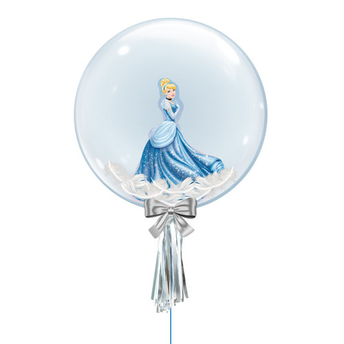 "24"" Crystal Ball Balloon - Feathers & Princess Cinderella Foil Balloon Stuffed"