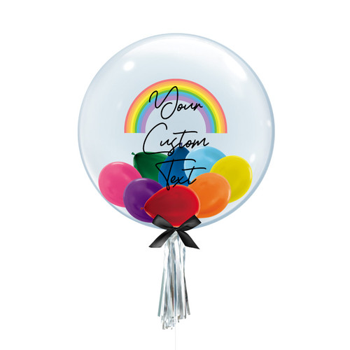 "24"" Personalised Rainbow Crystal Clear Transparent Balloon - Mini Metallic Balloons Filled (Vibrant Rainbow)"