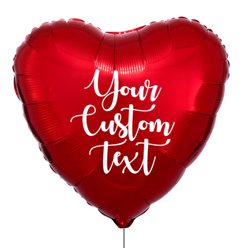 "32"" Personalised Giant Heart Foil Balloon - Metallic Red"