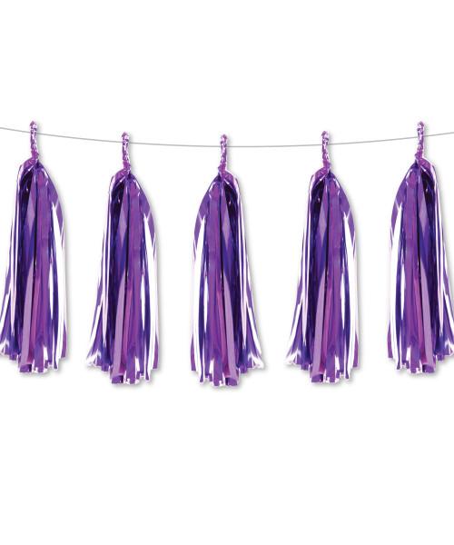 Metallic Foil Paper Tassel Garlands DIY Kit (5 Tassels) - All Metallic Purple
