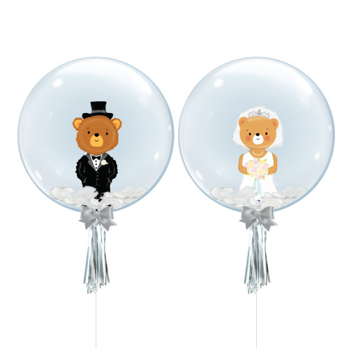 "24"" Crystal Ball Balloon Set - Groom Bear & Bride Bear Foil Balloon Stuffed"