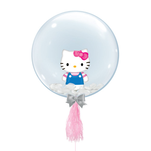 "24"" Crystal Ball Balloon - Feathers & Hello Kitty Summer Fun Foil Balloon Stuffed"