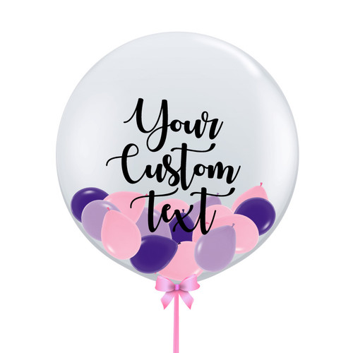 32'' Personalised Jumbo Perfectly Round Gumball Aqua Balloon - Mini Fashion Balloons Stuffed (25 Colors)