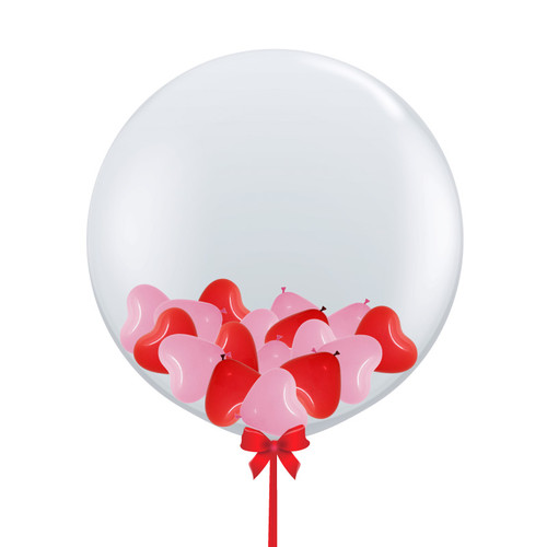 36'' Jumbo Perfectly Round Gumball Balloon - Mini Heart Balloons Stuffed (7 Colors)