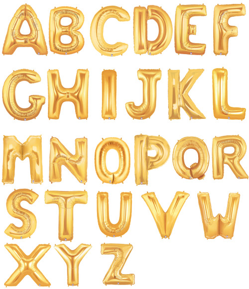 "16"" Small Alphabet  Foil Balloons (Gold) - Letter 'A' to 'Z'"