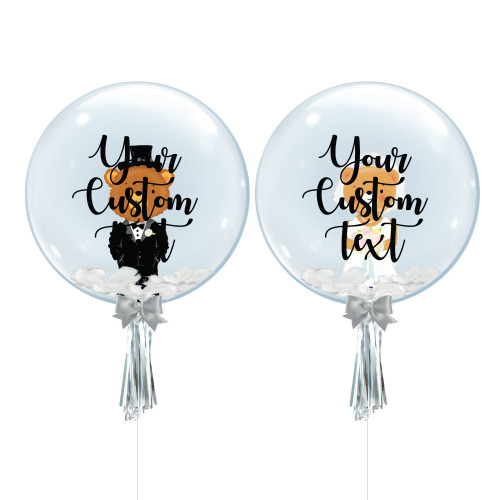 "24"" Personalised Crystal Ball Balloon Set - Groom Bear & Bride Bear Foil Balloon Stuffed"
