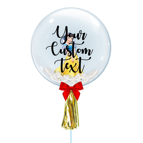 "24"" Personalised Crystal Ball Balloon - Feathers & Princess Snow White Foil Balloon Stuffed"