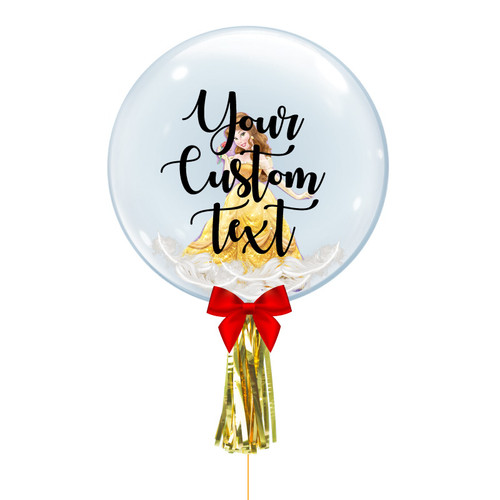 "24"" Personalised Crystal Ball Balloon - Feathers & Princess Belle Foil Balloon Stuffed"