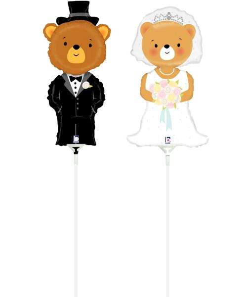 [Wedding] Mini Bride & Groom Bear Foil Balloons with sticks (11inch)