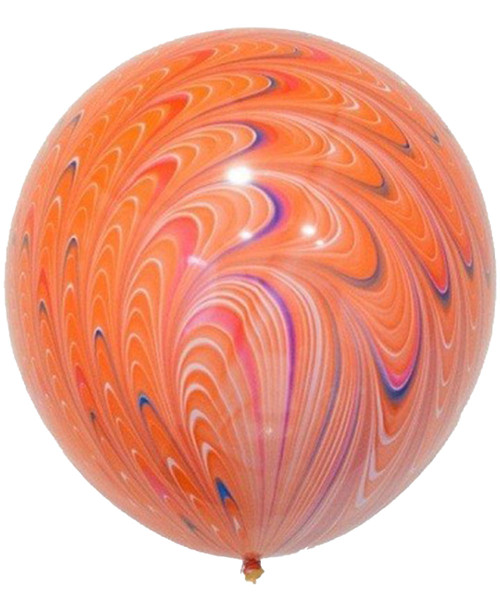 "18"" Peacock Round Latex Balloons - Bright Orange"