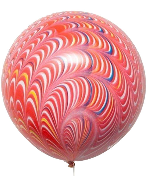"""18"""" Peacock Round Latex Balloon -  Scarlet Red"""