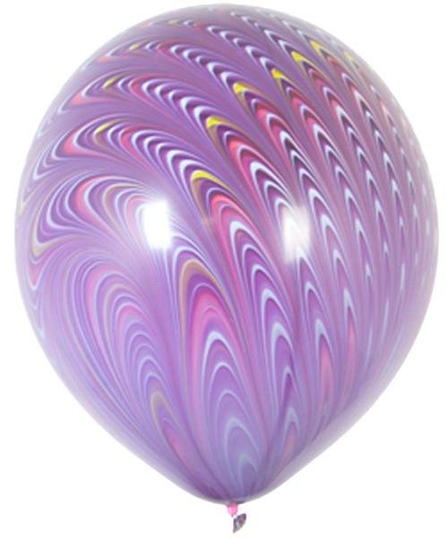 "18"" Peacock Round Latex Balloon - Violet Purple"