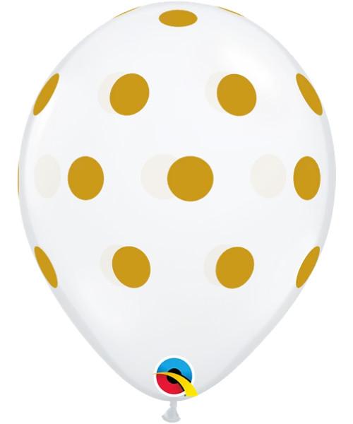 "11"" Clear Transparent Gold Polka Dots Round Latex Balloon"