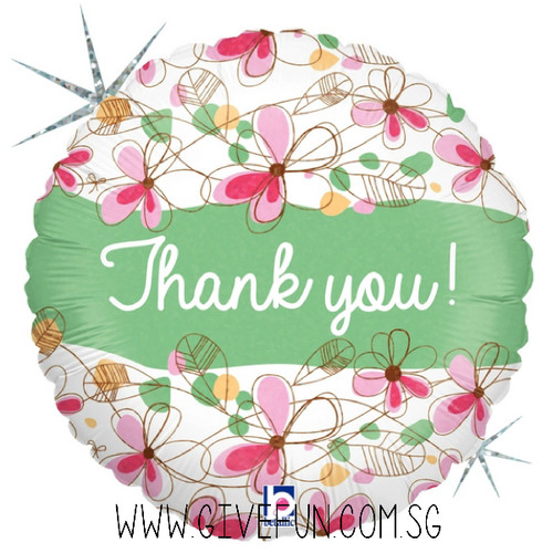 Floral Thank You Foil Balloon (18inch)