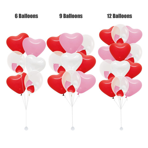 "(Create Your Own Helium Bouquet) 12"" Triplet Balloon Cluster - Heart Latex"
