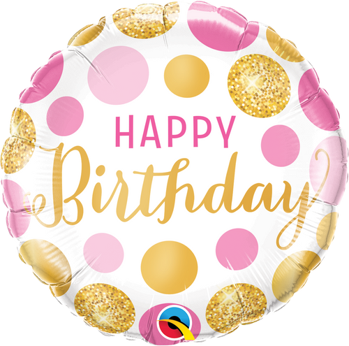 Birthday Pink & Gold Dots Foil Balloon (18inch)