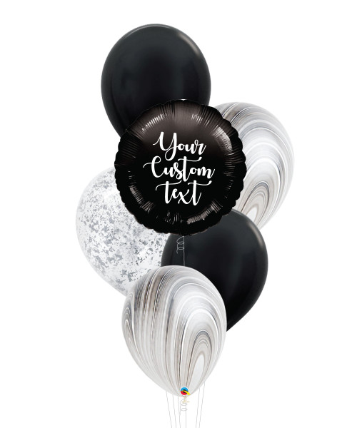 Personalised Marble-lous Balloons Bouquet - Metallic Black