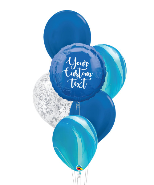 Personalised Marble-lous Balloons Bouquet - Metallic Dark Blue