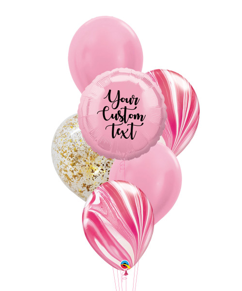 Personalised Marble-lous Balloons Bouquet - Metallic Pink