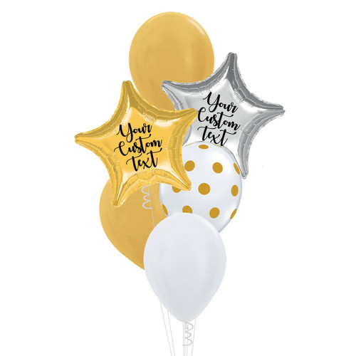Personalised Star Foil Gold & White Balloons Bouquet