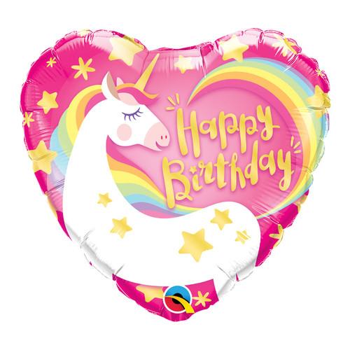 Birthday Magical Unicorn Heart Foil Balloon (18inch)