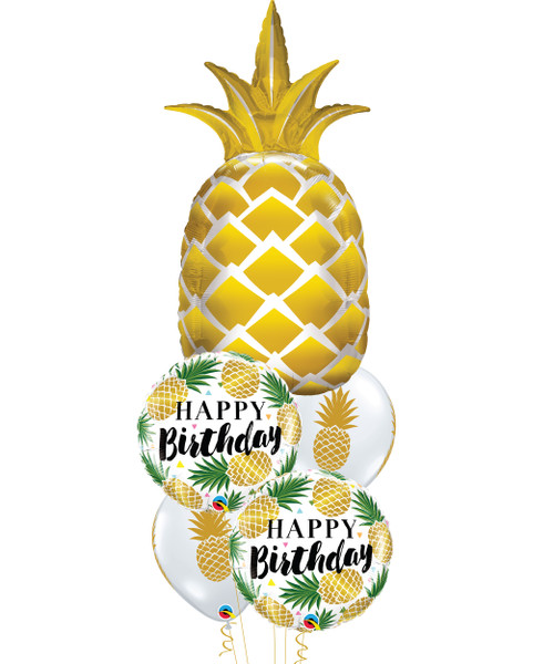 [Pineapple] Birthday Golden Pineapple Balloons Bouquet