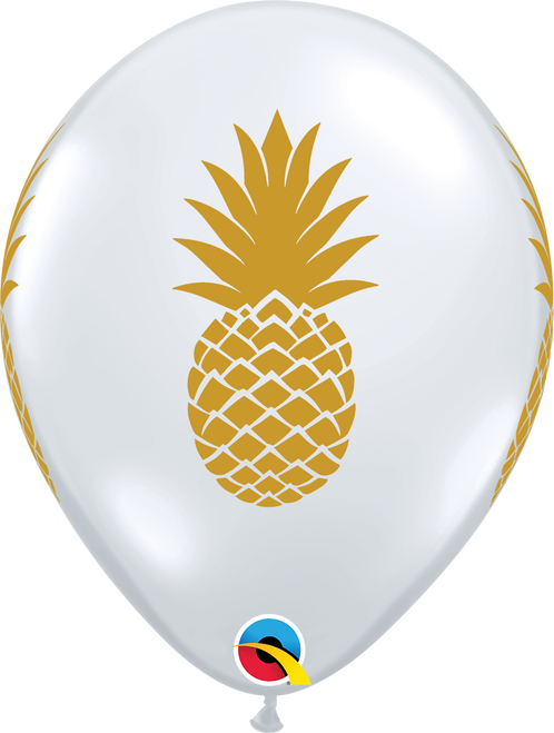 "11"" Clear Transparent Pineapple Round Latex Balloon"