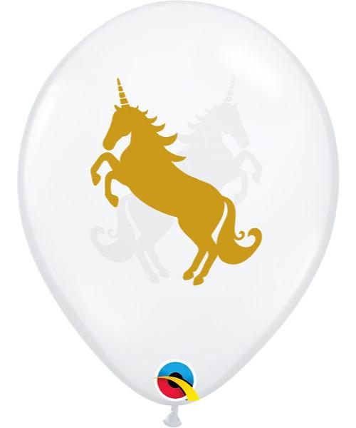 "11"" Clear Transparent Unicorn Round Latex Balloon"