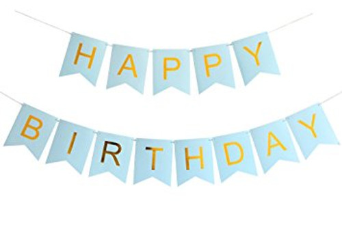 Classic Happy Birthday Bunting (2.5meter) - Pastel Blue