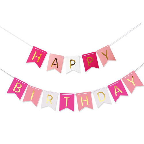 Classic Happy Birthday Bunting (2.5meter) - Hot Pink, Pastel Pink & White