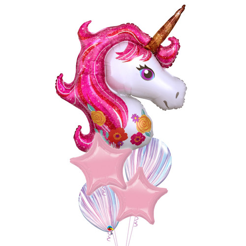 Magical Pink Unicorn Dream Balloons Bouquet